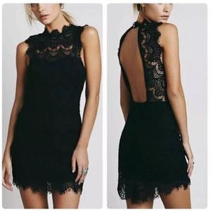 Free People Daydream Black lace open back dress